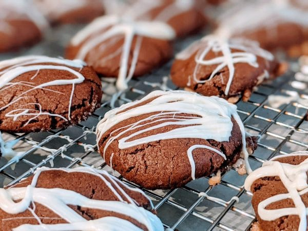 rolo cookies drizzled with white chocolate