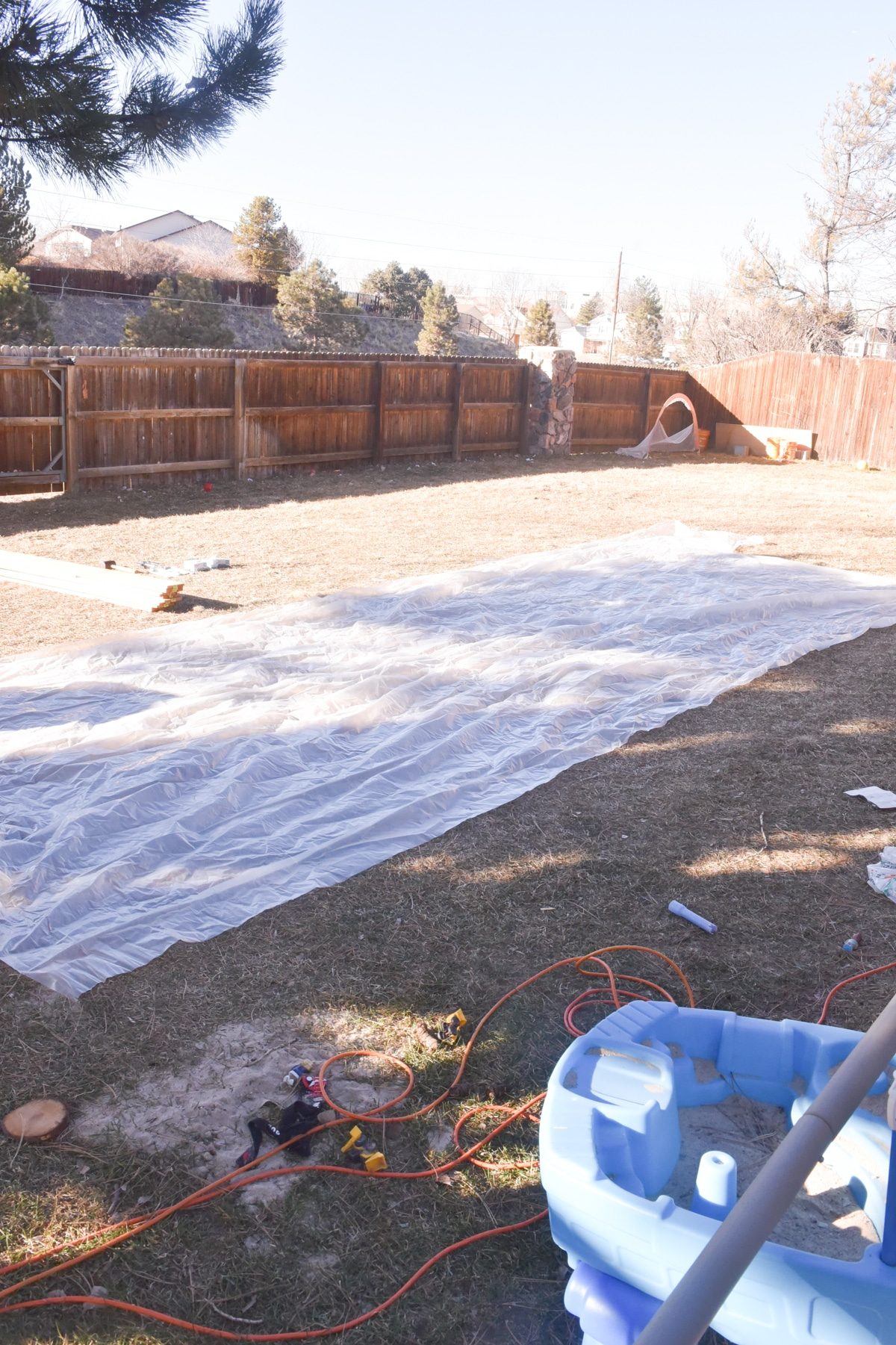 plastic sheeting for backyard ice rink