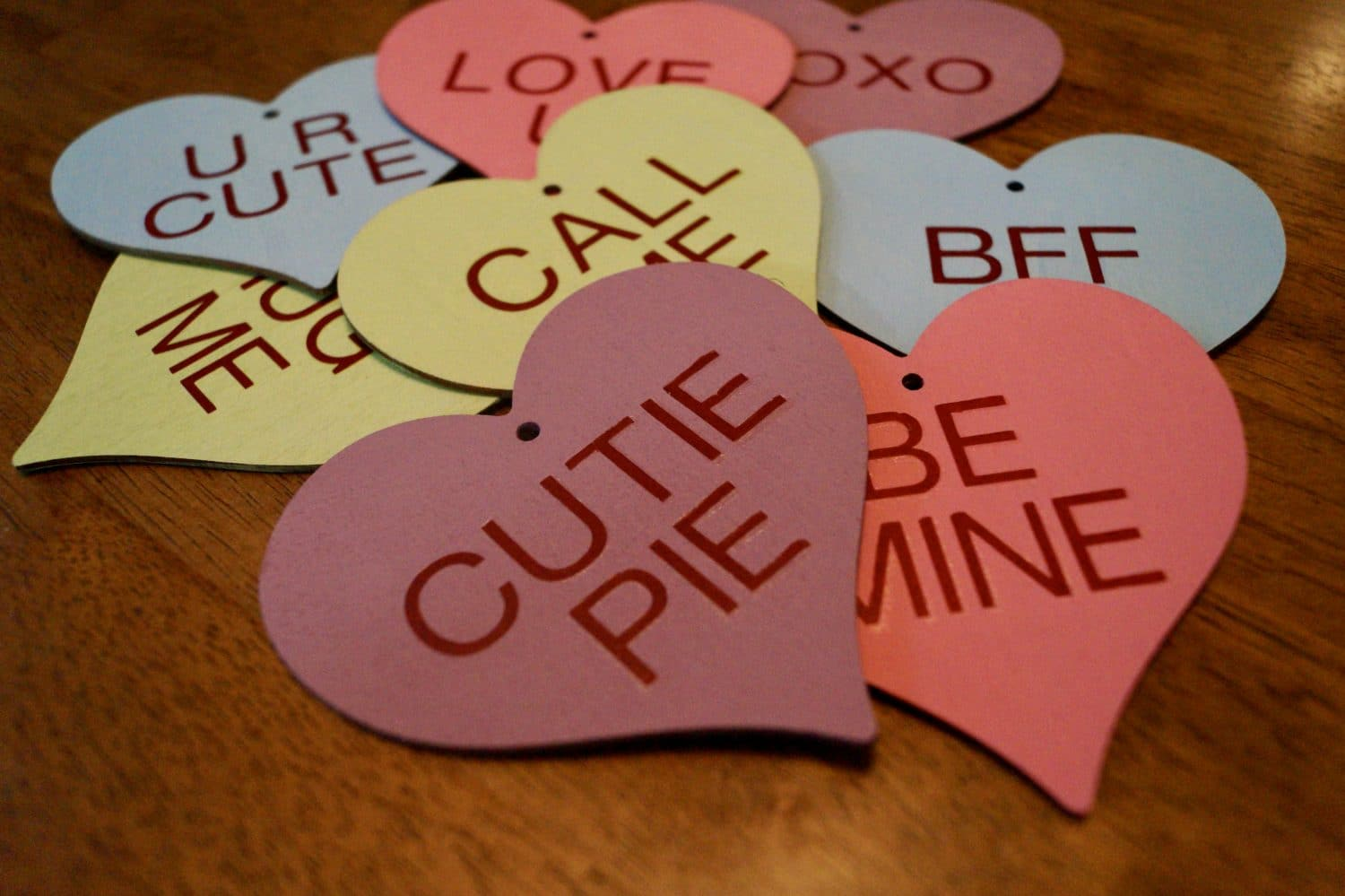 colored hearts with writing on them