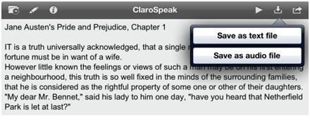 ClaroSpeak Save Text