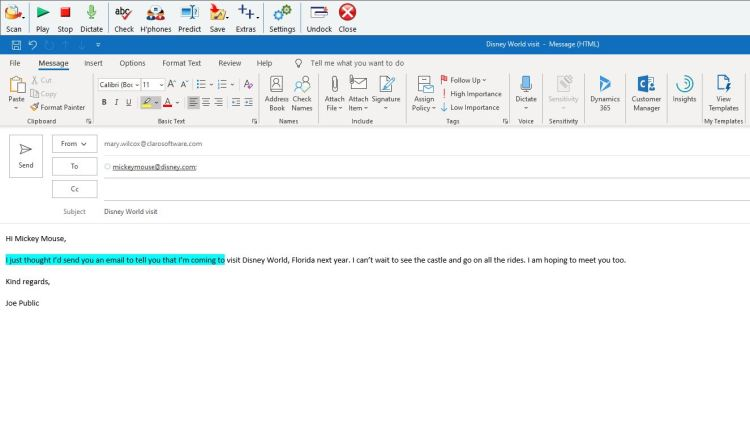 Reading in Outlook