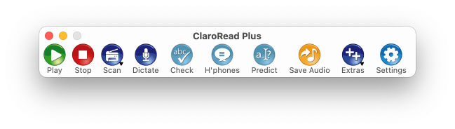 Normal ClaroRead Mac toolbar