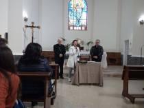 Il vescovo Valentino con il preseidente diocesano Cinzia Brandi e l'assistente unitario don Pasquale Rubino. Ritiro spirituale unitario di Quaresima 2018
