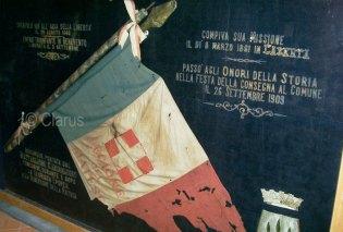 la bandiera della legione del Matese conservata oggi presso il Museo Civico Raffaele Marrocco di Piedimonte Matese