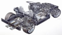 2005 Chevrolet Corvette Convertible: chasis y disposición de los órganos mecánicos.