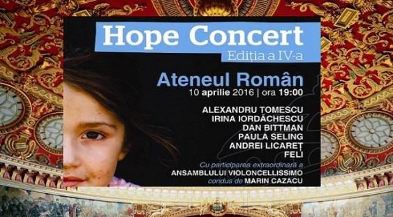 Muzică clasică, pop şi street art în beneficiul copiilor instituţionalizaţi sau aflaţi în pericol de abandon – Hope Concert