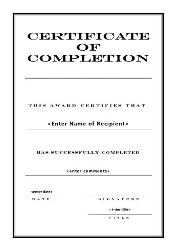 Certificate Of Completion 104