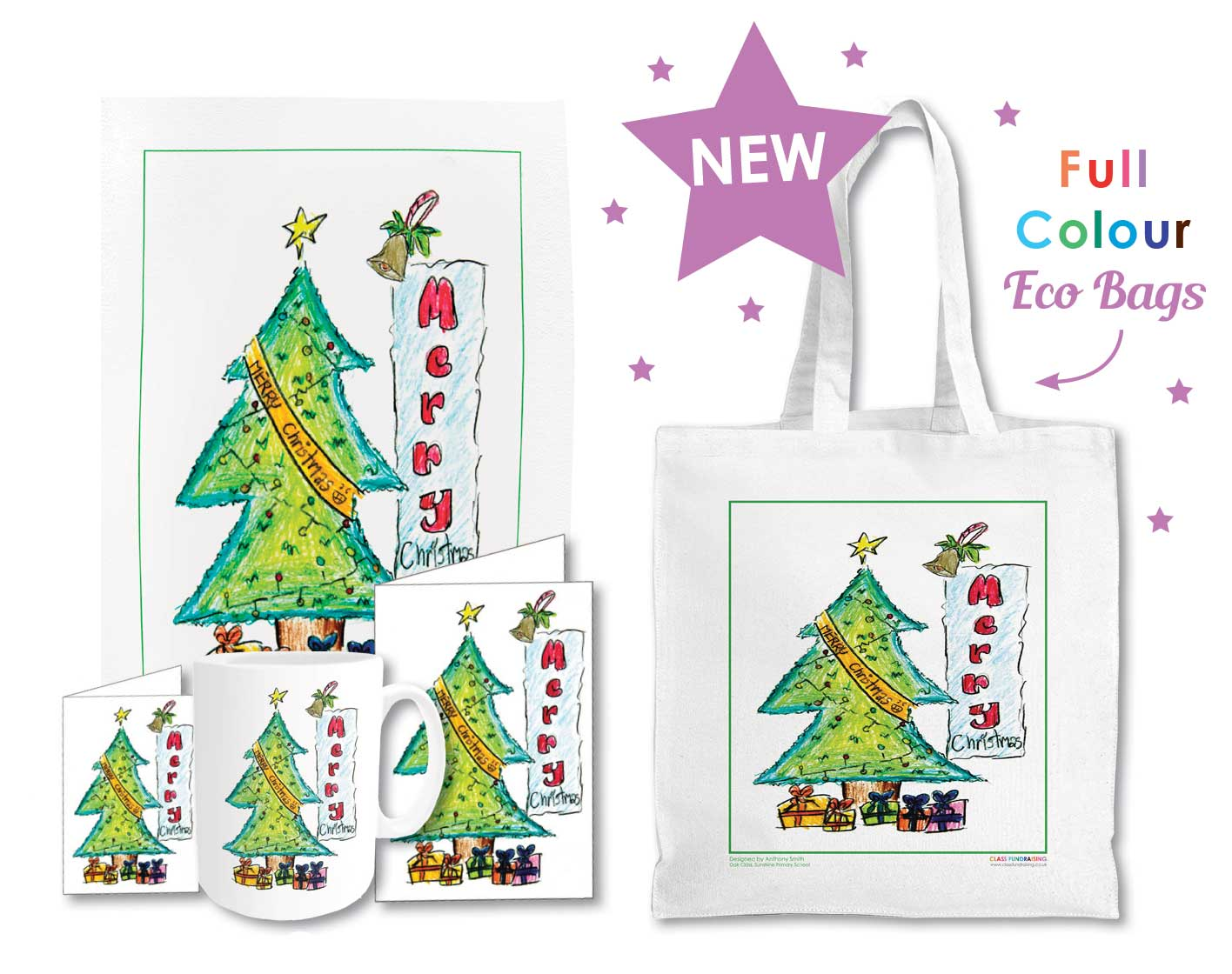 One Template 4 Products Christmas Cards Gift Tags Mugs