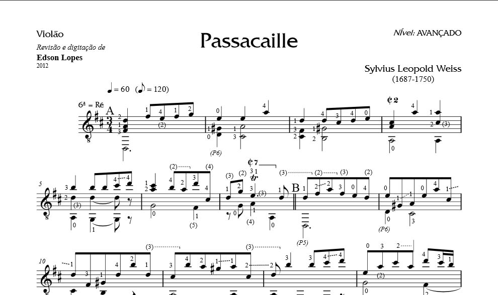 S  Leopold Weiss, Passacaglia in D major