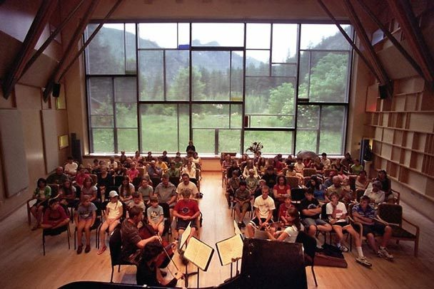 The picturesque view from Canyon Wren Recital Hall,  home of the Icicle Creek International Chamber Music Festival (Photo: Reed Carlson)