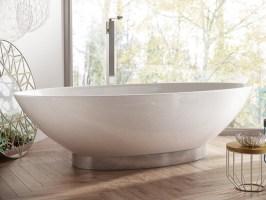 Freistehende Designer Badewanne aus Mineralguss Onis ...