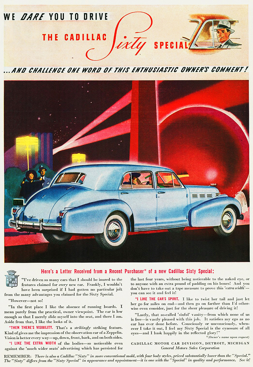 1938 Cadillac Sixty Special Ad CLASSIC CARS TODAY ONLINE