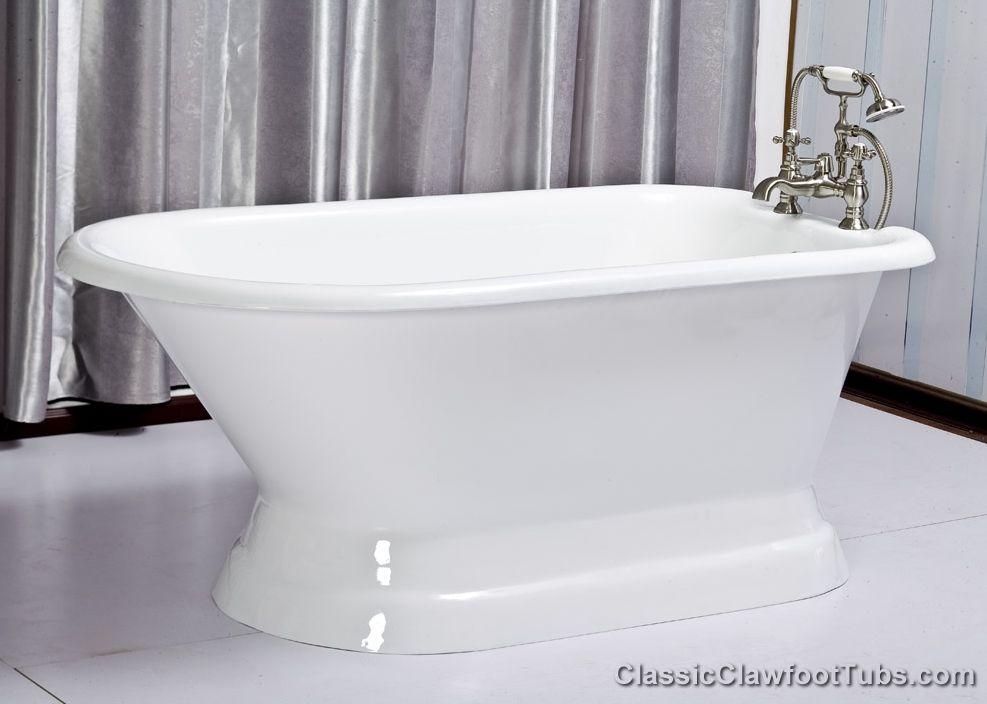 61 Rolled Rim Cast Iron Pedestal Tub Classic Clawfoot Tub