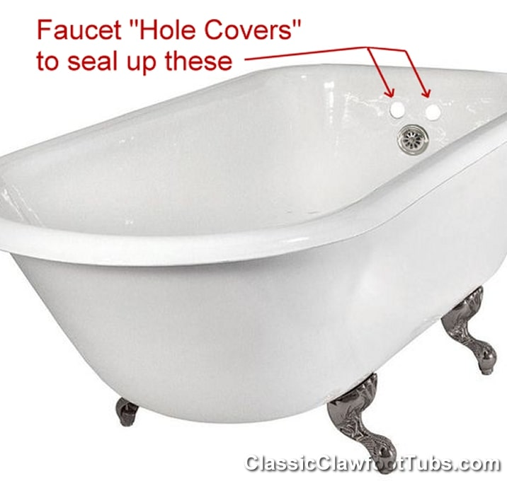 hole covers for hot cold clawfoot tub
