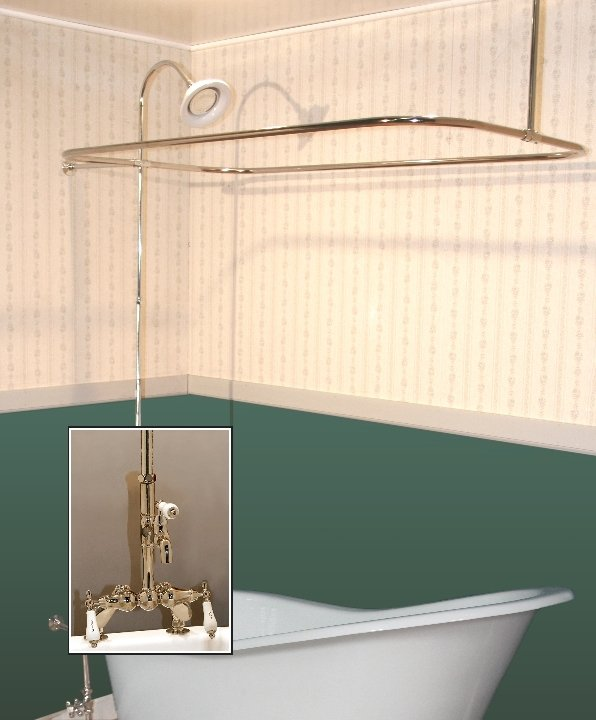 Clawfoot Tub Deckmount Shower Enclosure Combo W Leg Tub