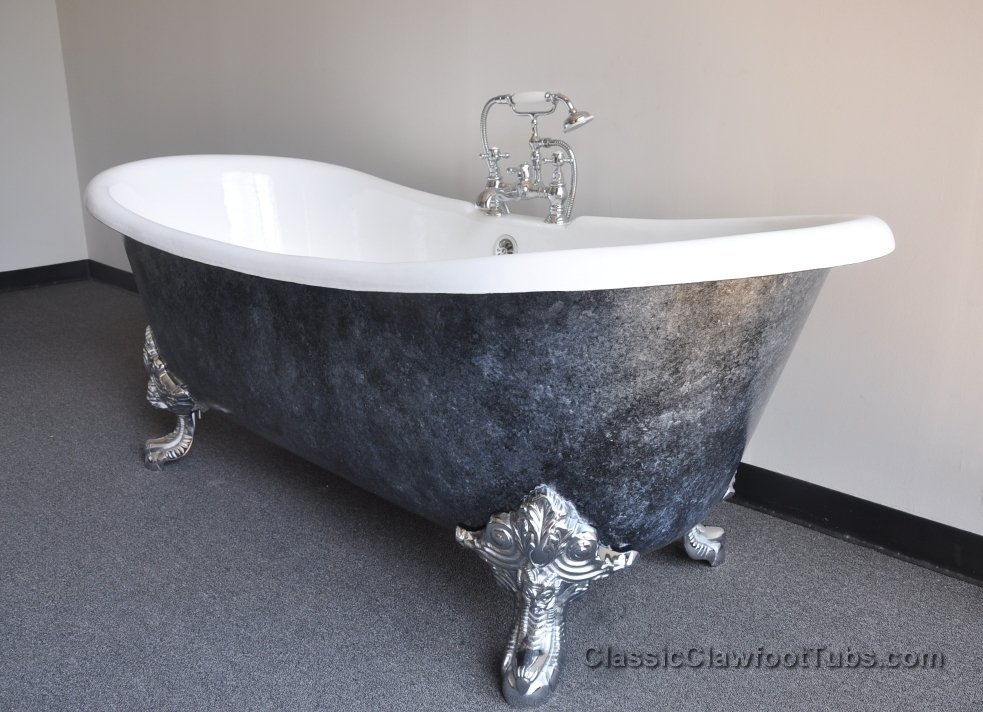 71 Cast Iron Double Ended Slipper Clawfoot Tub WImperial Feet Classic Clawfoot Tub