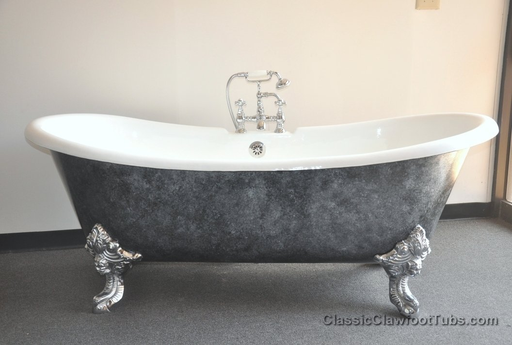 71 Cast Iron Double Ended Slipper Clawfoot Tub WImperial