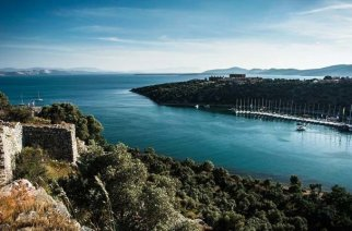 The ancient city sits on the now-Turkish coast of the Aegean Sea