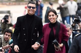 Media captionFootball superstar Cristiano Ronaldo was all smiles as he arrived at court