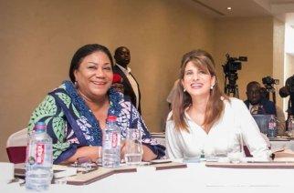 Rebecca Akufo-Addo (L) and Princess Dina Mired of Jordan