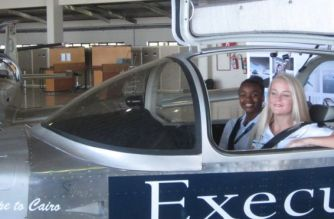 Megan (R) is one of the pilots and Agnes (L) is flying as part of the support team
