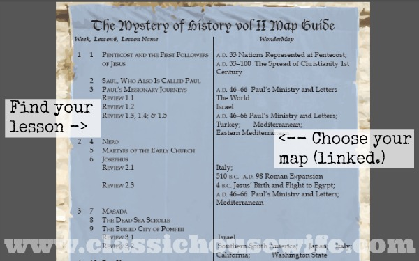 WonderMaps for Mystery of History Lessons