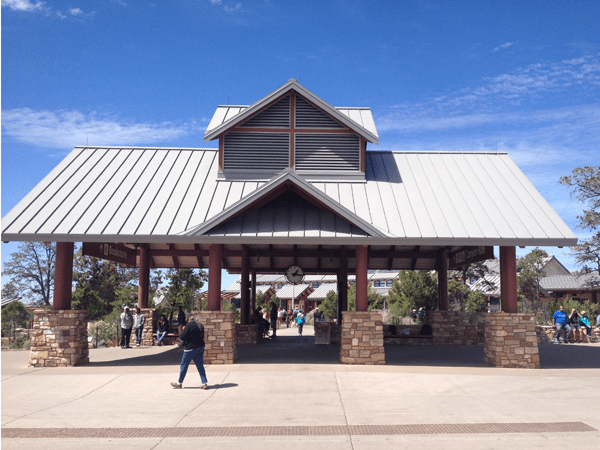 """This is the main """"hub"""" of the Visitor's Center area. On the other side of this pavilion is the Visitor's Center, to the left is the Bookstore, and where I'm standing is the shuttle stop where buses take you to and from the various parking areas and viewpoints."""