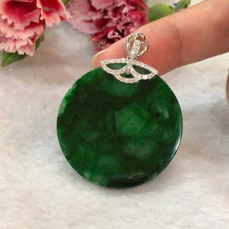 green safety coin jade pendant