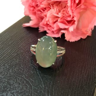 icy green jade cabochon ring
