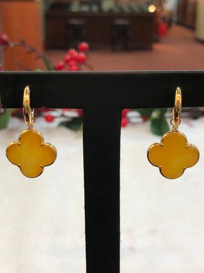 honey jade clover earrings