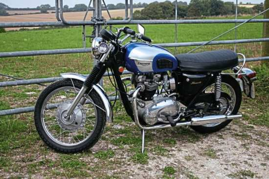 An attractive hybrid with a whiff of mystery. This o.i.f. 650cc Bonneville has been modified with some 1960' touches.