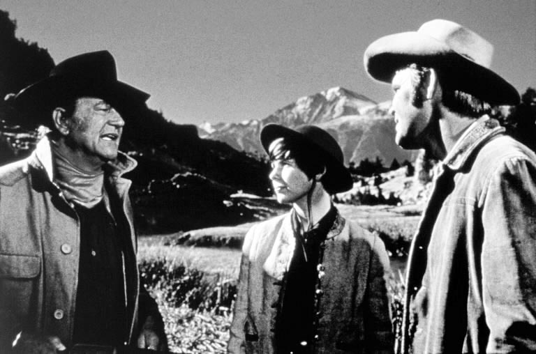 John Wayne in True Grit with Glenn Campbell and Kim Darby, classic movie, Henry Hathaway