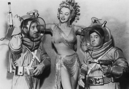 Bud Abbott and Lou Costello and Mari Blanchard in Abbott and Costello Go To Mars, Charles Lamont