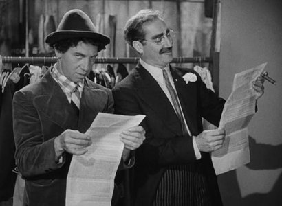 Chico Marx and Groucho Marx in A Night at the Opera, Sam Wood, Edmund Goulding