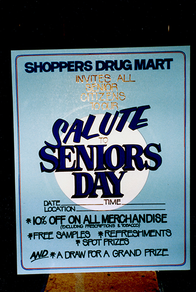 Shoppers Drug Mart Seniors Day Hand Painted Sign