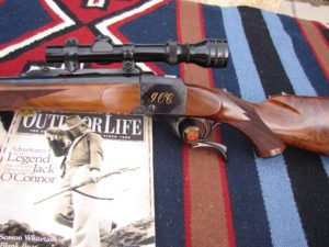 The Jack O'Connor rifle, serial# 20. Note the vertical ring in the front position. this rifle is pictured in O'Connor's book, The Hunting Rifle, page 58.