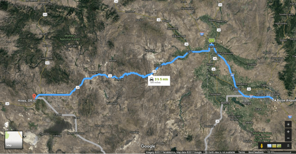Map of the 3 hour drive from Boise Airport, through the middle of nowhere to central Oregon.