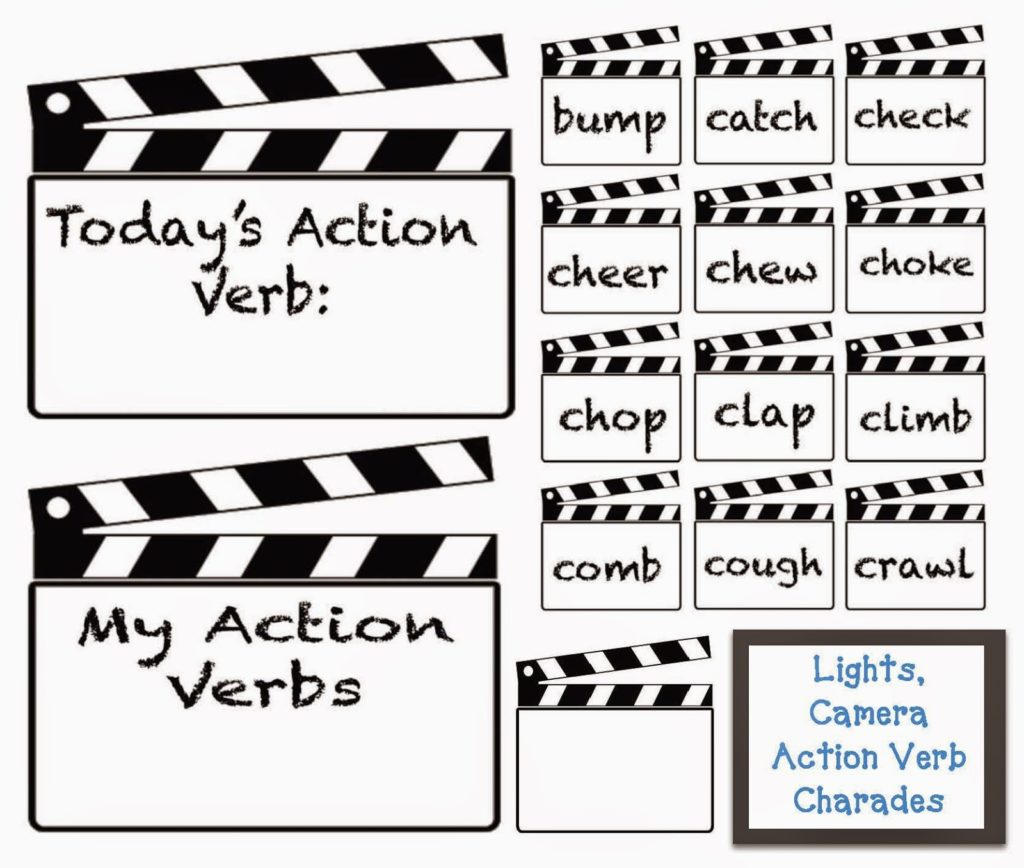 Lights Camera Action Verbs Charades