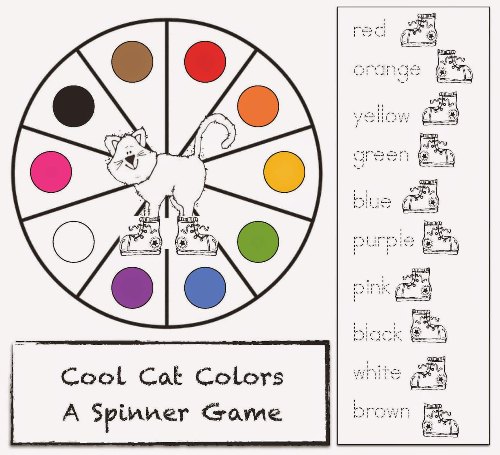 Pete The Cat Spinner Game For I Love My White Shoes