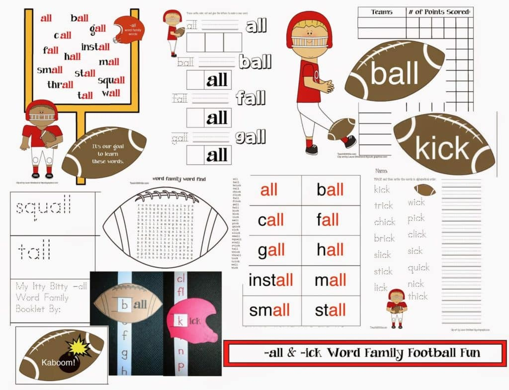 All And Ick Word Families Football Themed Packet