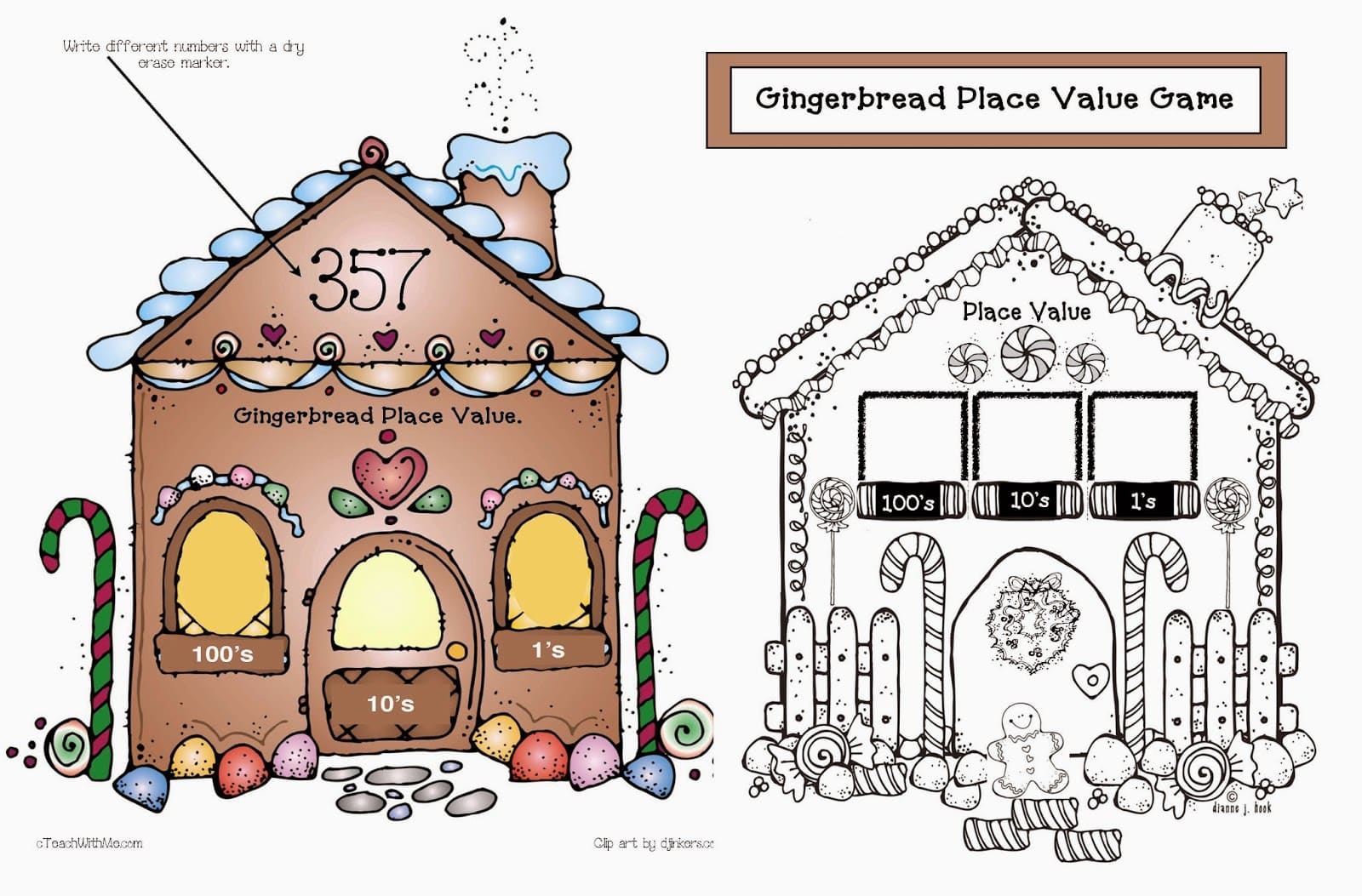 Place Value Gingerbread House Game