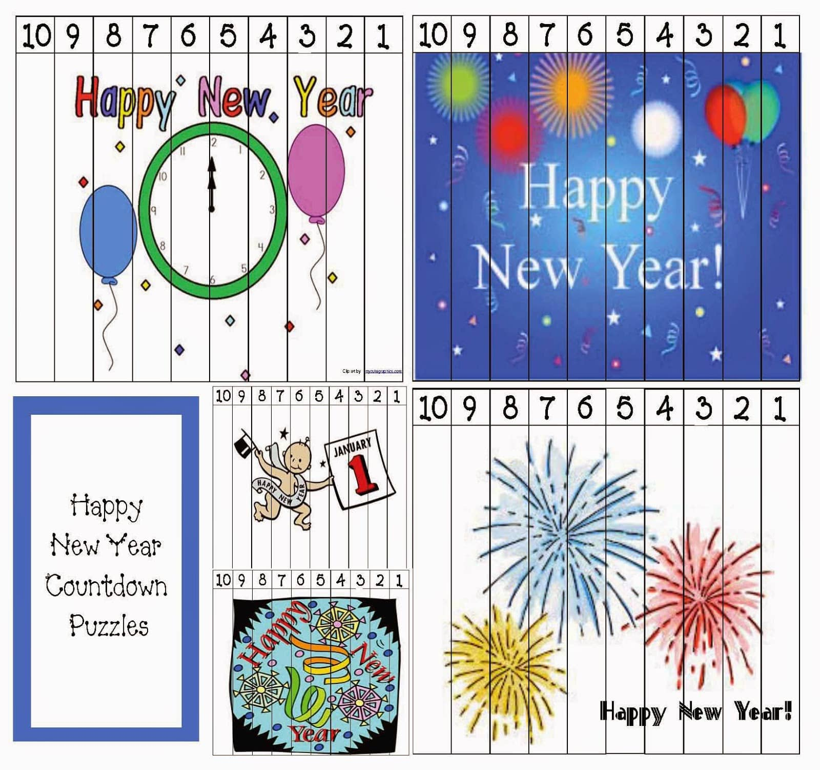 Happy New Year Countdown Puzzles