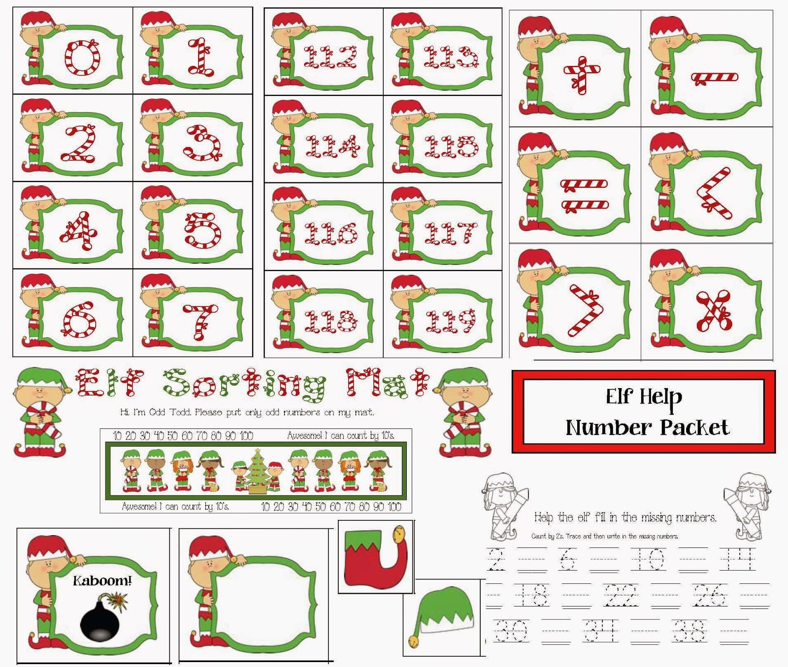 Elf Themed Number Packet
