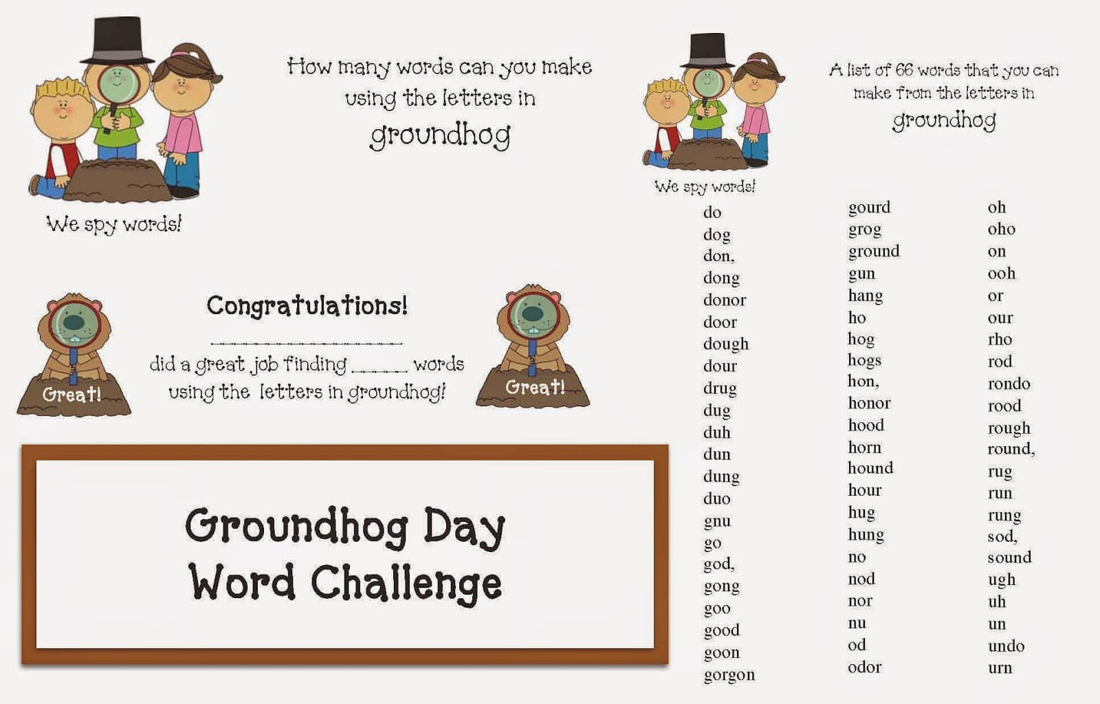 Groundhog Day Word Game