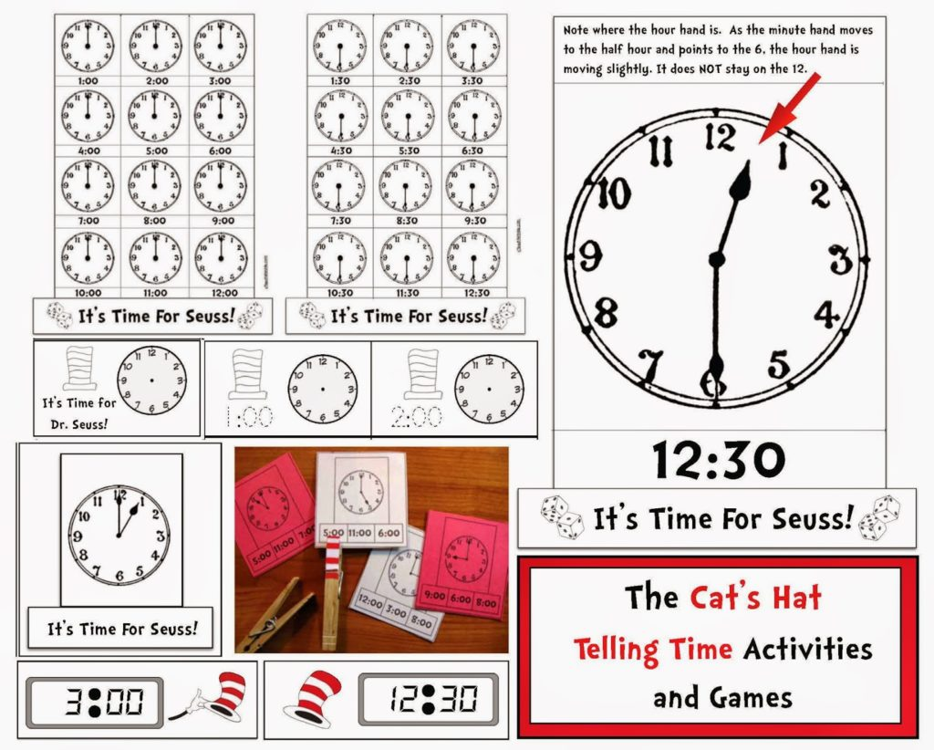Seuss Themed Telling Time To The Hour Amp Half Hour Digital Ampog Time Packet