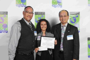 CEEF Board members Darryl Ramos-Young (left) and Ray Ng (right) present the CEEF Excellence in Environmental Education junior division award to Ananya Kathhik at the 2014 California State Science Fair.  Photo courtesy of the California State Science Fair.