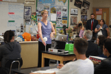 Lisa Hegdahl introduces the modeling activity for her students.
