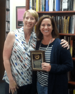Jeanine Wulfenstein, outgoing Treasurer Director is recognized for her service by CSTA President Lisa Hegdahl.