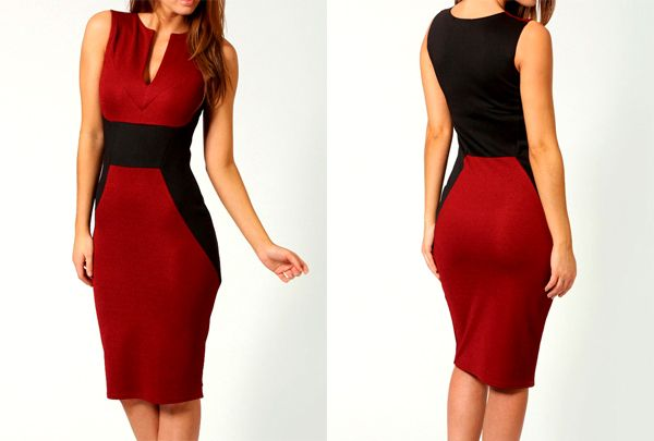 Sammy Dress: Trendy Style Polyester Color Block Beam Waist Sleeveless Bodycon Knee Length Dress