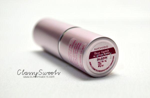 Nichido Mini Haul: Nichido Sheer Lipstick w/ Shea Butter in Bloom